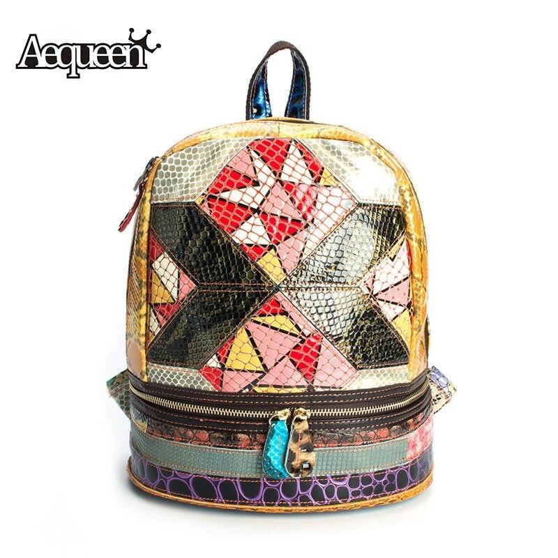 AEQUEEN Genuine Leather Backpacks Women Rucksacks Patchwork Cowhide Shoulder Bag Geometric Bright Schoolbags Teenage Daypack