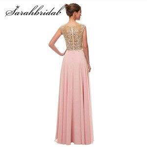 Image 2 - Haft elegancka, długa suknie wieczorowe zroszony linia O Neck Illusion suknia na graduation data formalna Prom Vestidos CC5311