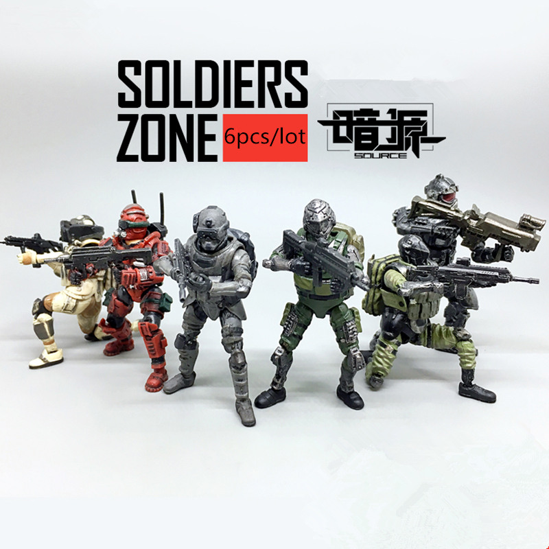 (6pcs/lot)JOY TOY source 1:27 the 2rd generation Soldiers' joints movable Military PVC toys soldiers set military toys model of helicopter tank soldiers the artillery missile toy for boy