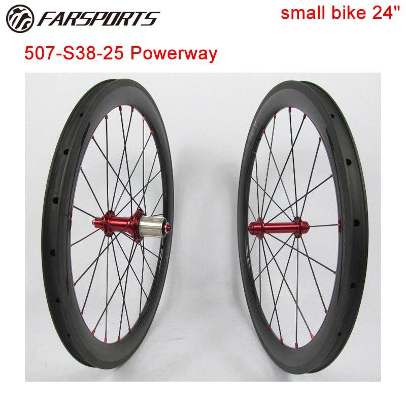 Nouveauté 24 ''roues de pneu en carbone 38mm de profondeur 25mm de large piste de freinage en basalte avec des petites jantes en résine TG haute 390g