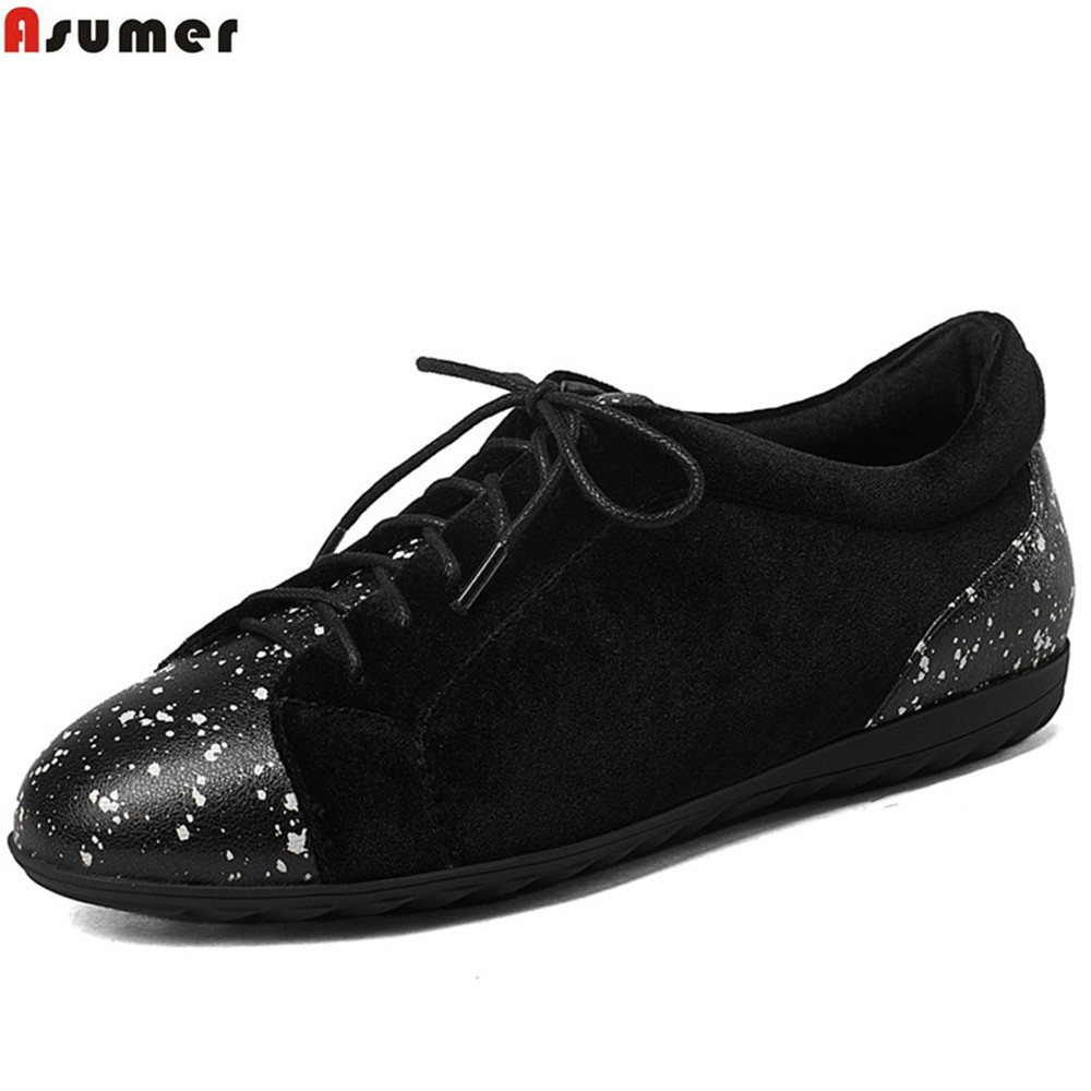 ASUMER black fashion spring autumn ladies shoes round toe lace up casual women flock+cow leather shoes flats asumer white spring autumn women shoes round toe ladies genuine leather flats shoes casual sneakers single shoes