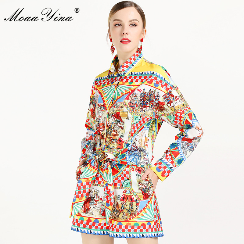 MoaaYina 2019 Fashion Designer Set Summer Women Long sleeve Vintage Character Plaid Print Tops+Sexy Runway Shorts Two-piece suit