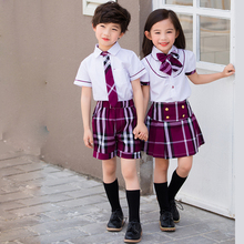 Inglaterra estilo hermana hermano ropa uniformes escolares camisa a cuadros  de manga corta + shorts falda 562563cd022a3
