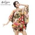 SpaRogerss Marca Estilo 2017 Mujeres de Seda del Faux del Camisón de Casa Ropa Señora Sleepshirt Estampado floral Más El Tamaño de Salón Del Sueño 10225