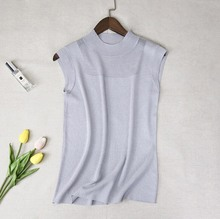 Tank top women Summer Sexy Round Collar Vintage summer Solid Color Sleeveless Knitting Bright Silk Slim Casual Vest