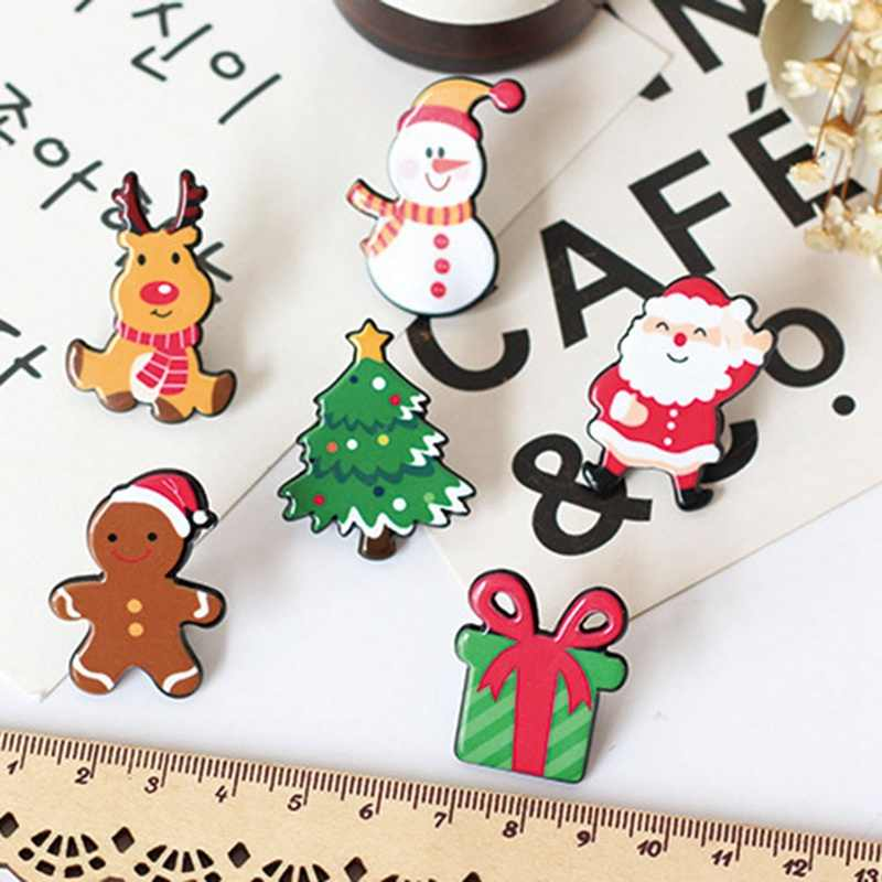 New Christmas Gift Acrylic Badges Pin Brooches Santa Claus Snowman Elk Brooch Pin For Kids T Shirt Sweater Coat Scarf Hat Decor