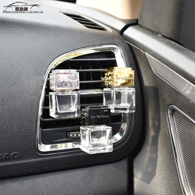 Empty Glass Car Perfume Square Bottle.