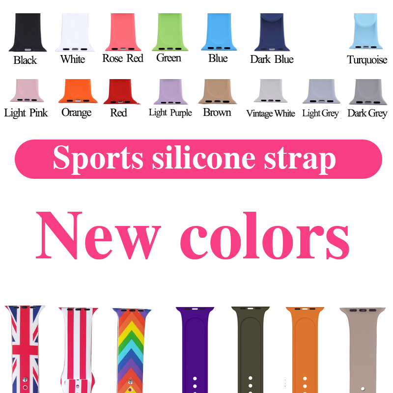 NEW colour Silicone Band For Apple Watch Series123 38mm 42mm Strap For iWatch Sports Edition Colorful Replacement Sport Band jansin 22mm watchband for garmin fenix 5 easy fit silicone replacement band sports silicone wristband for forerunner 935 gps