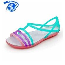 Mulheres Sandálias de Verão Nova Cor de Doces Mulheres Sapatos Peep Toe  Stappy Praia Valentine Rainbow Croc Geléia Sapatos Mulhe. c3bb7c74cc71