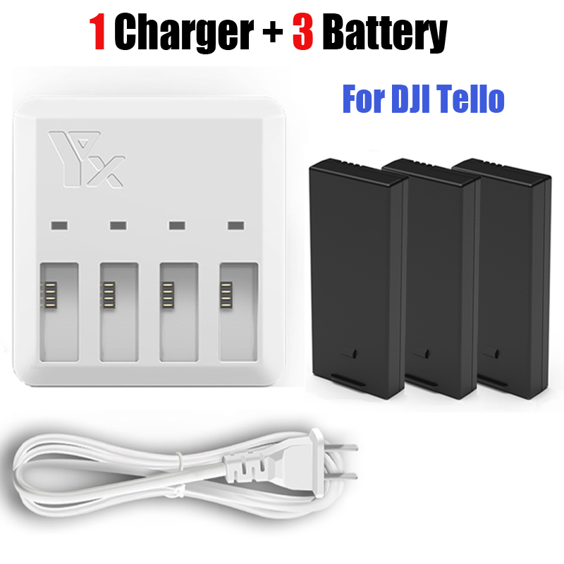Tello 3 pcs batterie + Chargeur 4in1 Mult Batterie De Charge Hub pour DJI Tello Drone Intelligent Vol Rapide De Charge NOUS/UE Plug