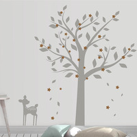 Nursery Tree Decal with Deer Tree and Flowers Wall Sticker Tree Decal with Blossom for Kid's Room Play Room 8107T