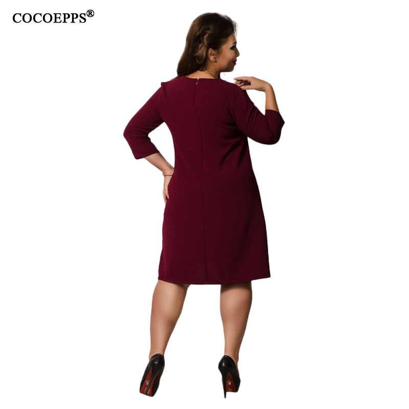 Зима 5XL 6XL одноцветное женское платье большого размера 2018 осень повседневные Большие размеры элегантные офисные платья вечерние платья женская одежда