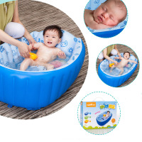 Newborn Cotton Inflatable Baby Bath tub Solid Plastic Cartoon Safety Inflating Baby Swimming Pool Bath Tub Cushion Safety