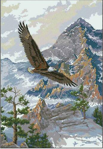 Lovely Gold Collection Counted Cross Stitch Kit Soaring The Peaks Eagle Eagles And Mountain Dim 03766 3766