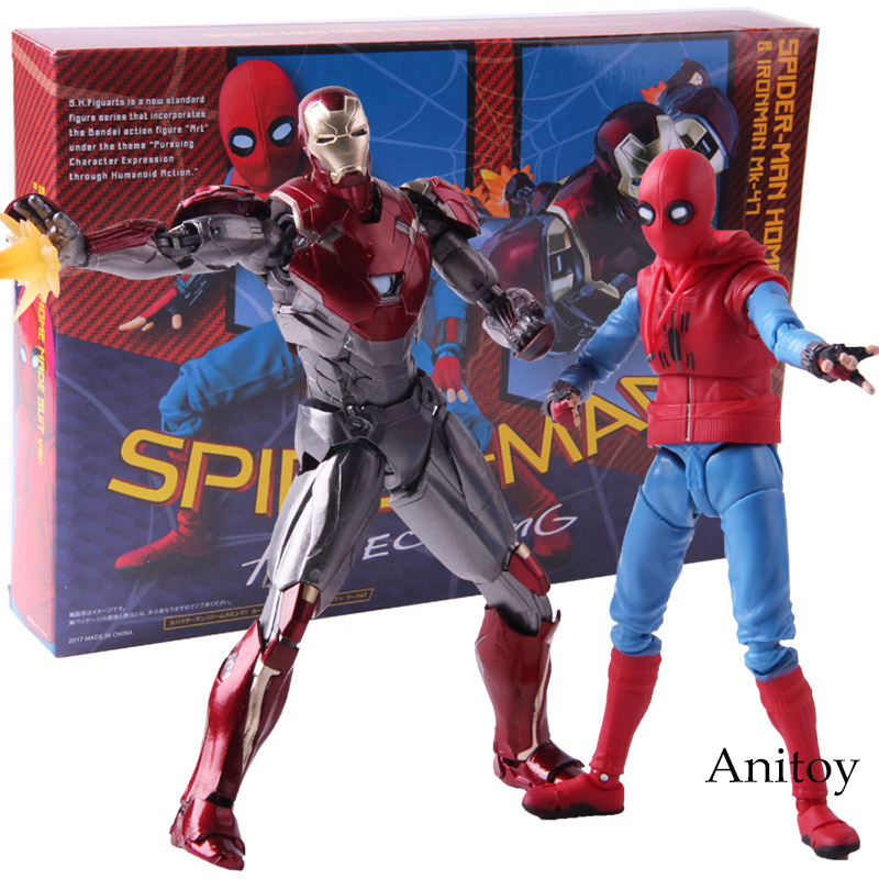 SHF Spiderman Home Made Suit Ver Iron Man MK 47 PVC Spider Man Homecoming Action Figure