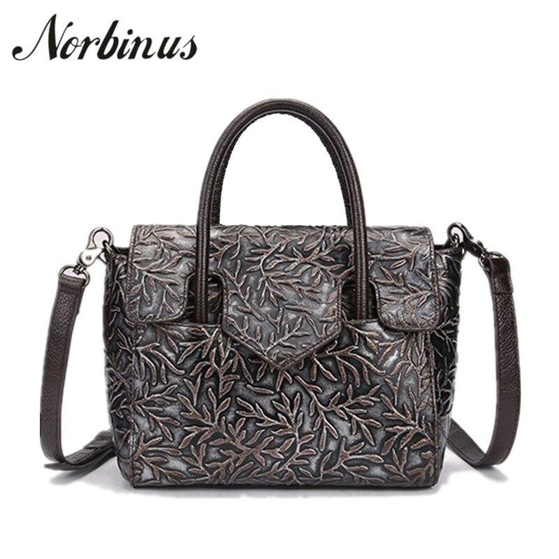купить Norbinus 2018 Women Luxury Handbags Genuine Leather Embossed Bags Brand Designer Female Messenger Shoulder Bag Small Casual Tote по цене 2807.62 рублей