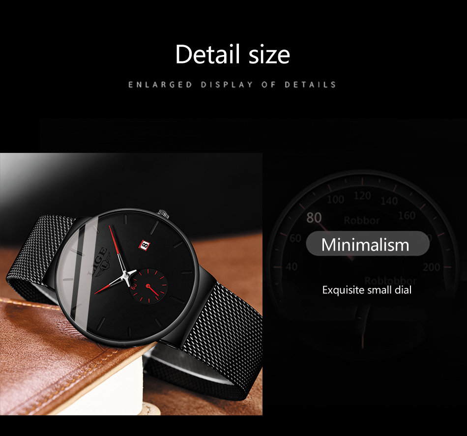 2019 LIGE Mens Watches Top Brand Luxury Fashion Wrist Watch For Men Quartz Clock Clock Male Ultra-Thin Mesh Belt Waterproof+Box