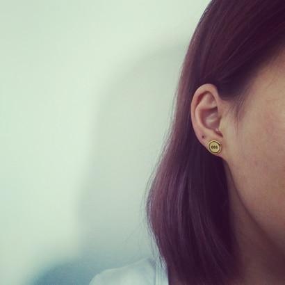 Punk Titanium Steel Letter Lightning Round Stud Earrings For Women unicorn Gold-Color Women Men Hiphop Piercing Earrings