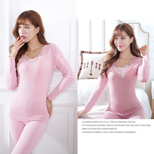 2pcs Suit Thin round neck Women Thermal Underwears Tops+Pants sexy Slim Ladies lace embroidery Underwear Bottoms