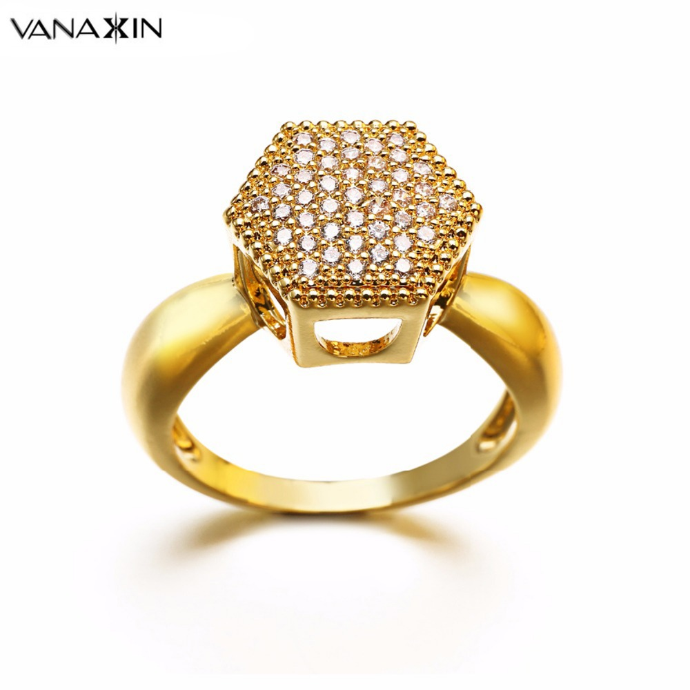 VANAXIN Crystal Rings for Women 2018 New Fashion Rose Gold Color CZ Female Five-Point Star Engagement Zircon Rings Men Jewelry