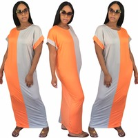 Hot Sale O Neck Women Summer Dress Patchwork Sexy Dress Loose Casual Long Maxi Dress CM159