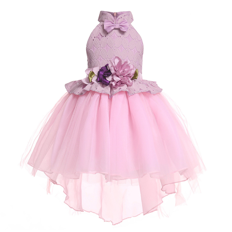 Figwit Girl Party Lace Dress Children Evening Elegant Princess Dress For Girls Christmas Ball Gown Robes Kids Bow Flower Dress