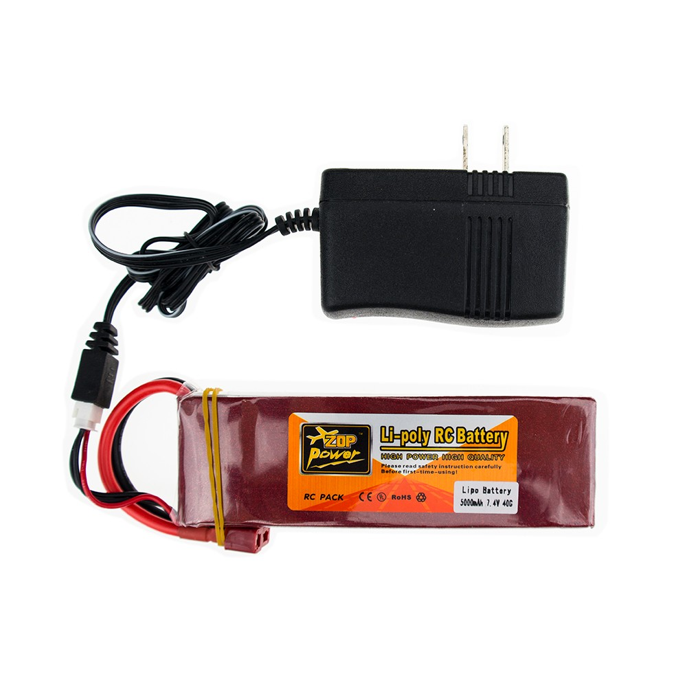 Upgrade Lipo 7.4 V 2S ZOP Drone Batteria 5000mah Battery 40C XT60 T Plug With Charger Set For RC Quadcopter Helicopter Truck 3pcs battery and european regulation charger with 1 cable 3 line for mjx b3 helicopter 7 4v 1800mah 25c aircraft parts