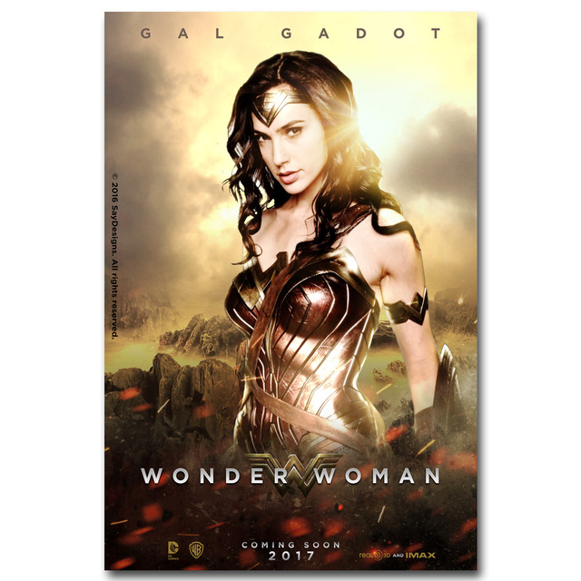 NICOLESHENTING Wonder Woman Poster Superheroes Movie Silk Prints 12x18 24x36 Inch Wall Picture Living Room