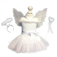 White Glitter Girl Feather Angel Birthday Cosplay Ballet Dress Child Christmas Party Dress Tutu with Wings and Wand