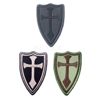 30 PCS Shield Crusade Cross Embroidery Patch Military Morale Patch Tactical Emblem Military Badges Embroidered Patches Wholesale