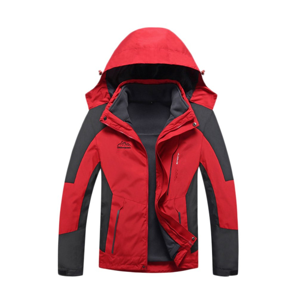 M-4XL Unisex Inner Fleece Waterproof Hooded Jacket Outdoor Sport Warm Coat Jackets with Detachable Inner As Sweater Warm Pockets pockets hooded duffle coat