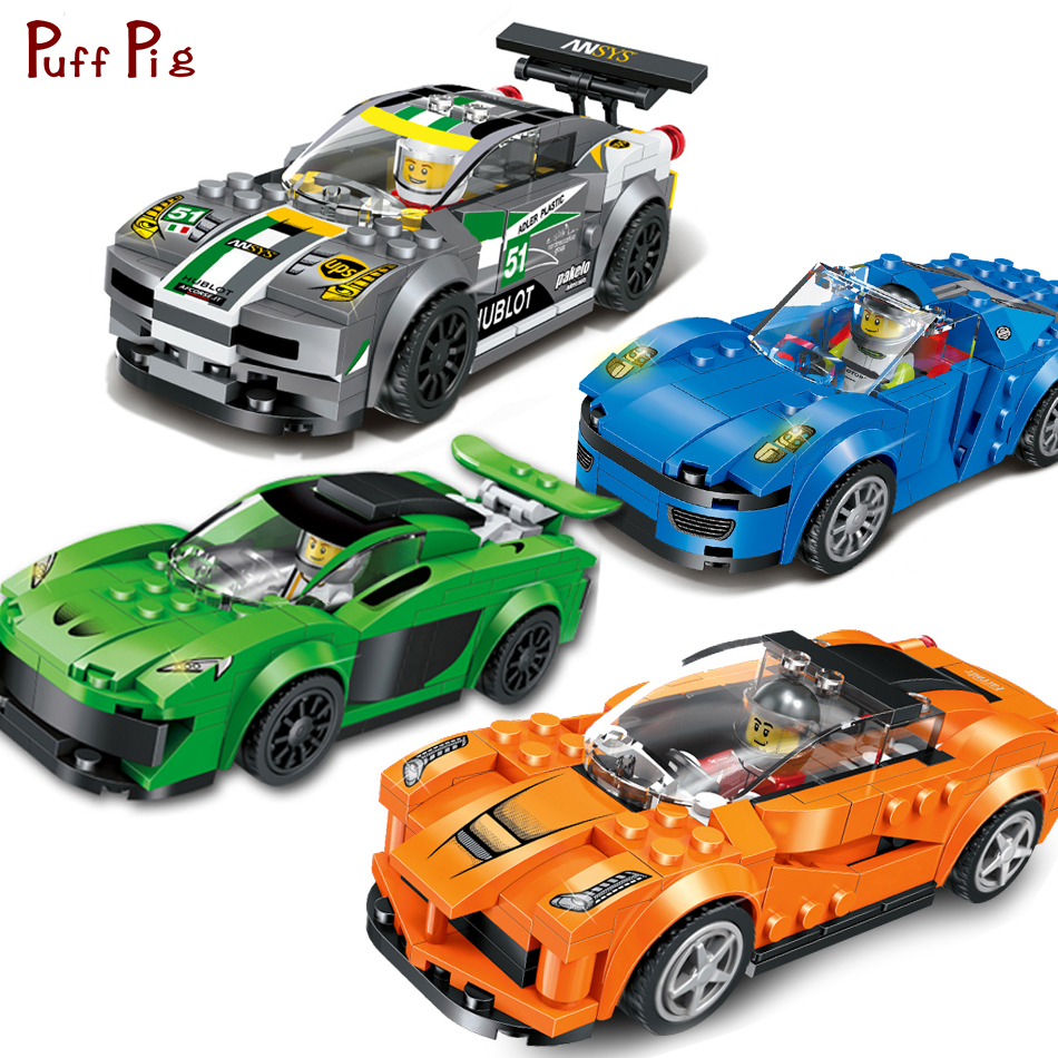 цена на 4pcs/set Speed Racing Cars Building Blocks 3D Model Compatible Legos City Action Figures enlighten Bricks Toys For Children Gift
