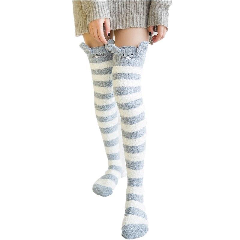 2018 invierno japonés Mori chica Animal modelado rodilla a rayas lindo Kawaii acogedor largo muslo alto calcetines compresión invierno cálido calcetín