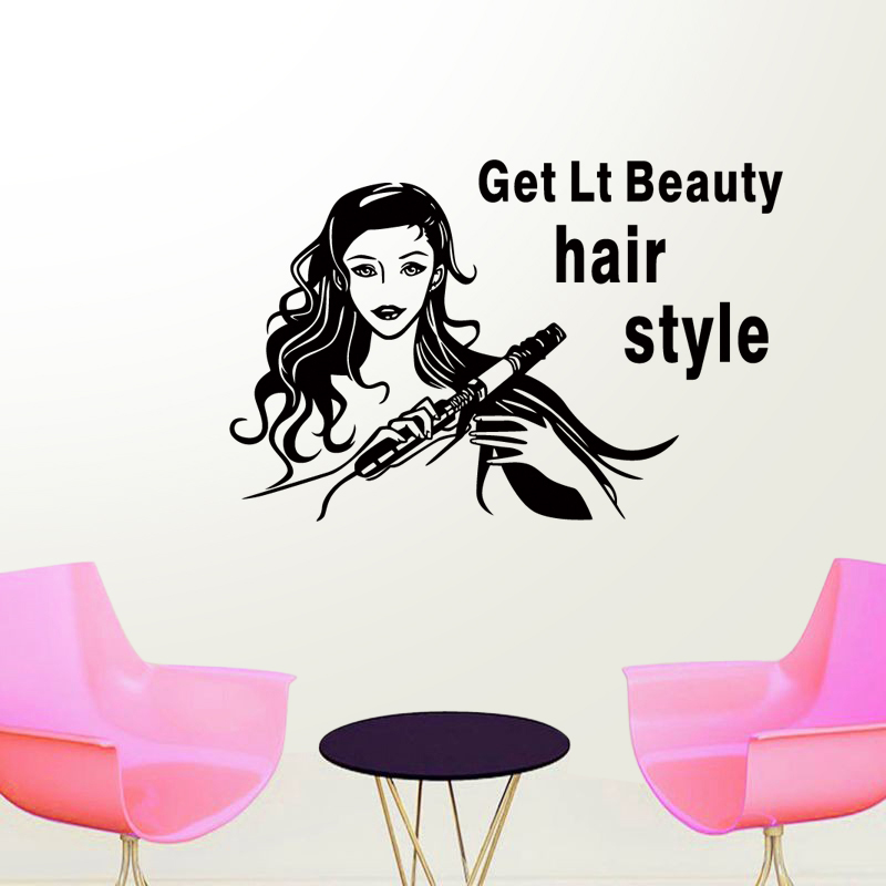 DCTAL Hairdresser Sex Girls Lady Hair Salon Name Wall Sticker Hair Cutting Wall Decal Hairdressing Shop Window Decoration