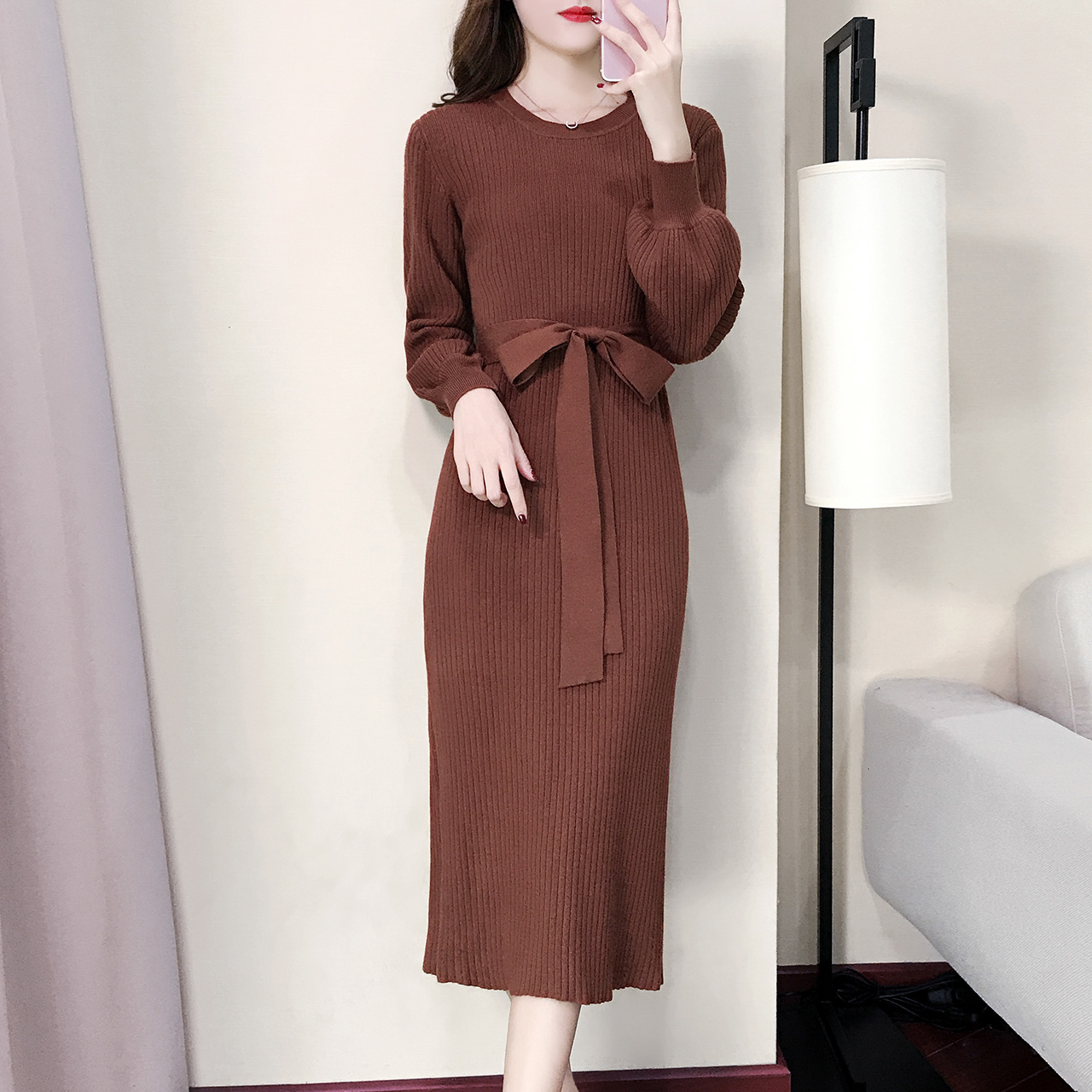 Winter Sexy Long Bandage Dress Lantern Sleeve Split Round Neck with Slashes Vintage Knitted Sweater Dresses Pink Black Vestidos split cap sleeve shift dress