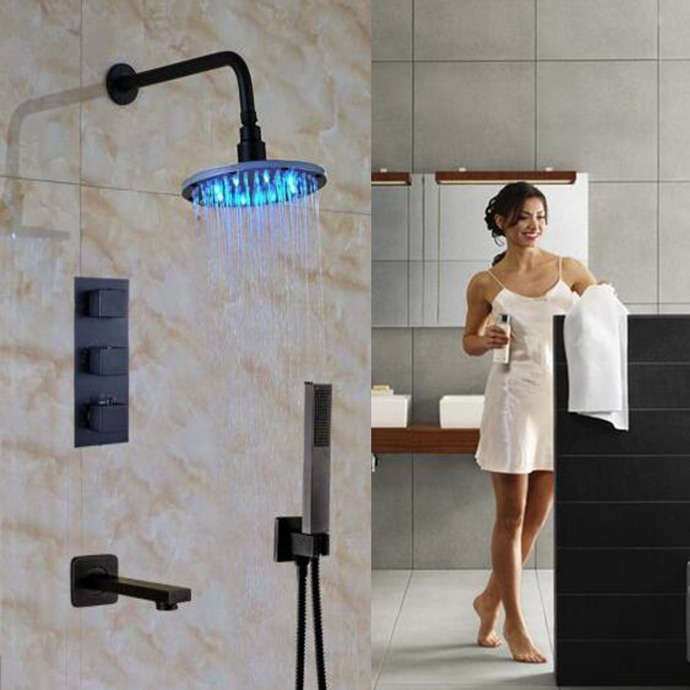 Uythner Thermostatic 8 ORB Shower Bathtub Filler W/ Hand Shower Wall Mounted Shower Tap