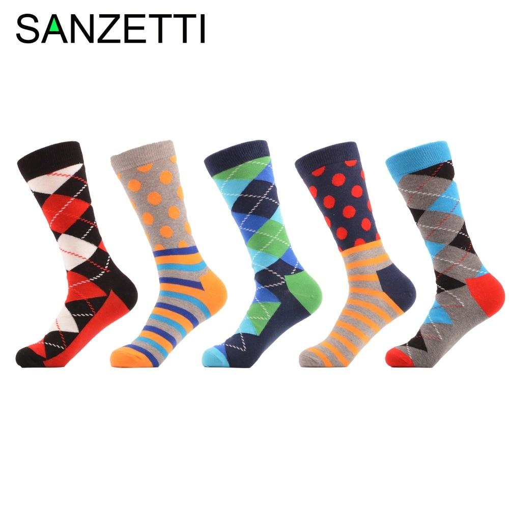 SANZETTI 5 pair/lot Funny Dot Striped Argyle Colorful Pattern Red Black Combed Cotton Socks Men Socks Wedding Gift