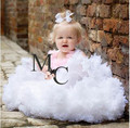 2016 summer lovely ivory with pink fluffy soft tulle girls tutu skirt pettiskirt kid 18M-10Y kids daughter clothes