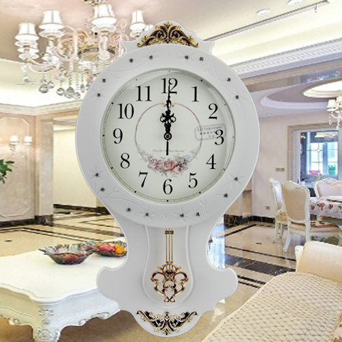 European Retro Living Room Wall Clock White Wood Craft Environmental High Quality Luxury Clocks Vintage Metal Pendulum