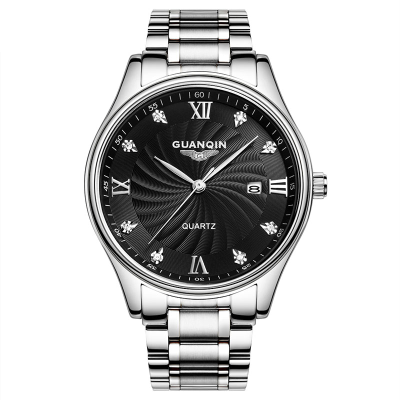 GUANQIN GQ80007 2017 Quartz Watches Men Luxury Brand Big Dial Watches 100 m Waterproof Watches Fashion Casual Stainless Steel