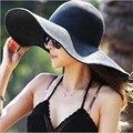 2016 Nova Moda de Verão Das Senhoras das Mulheres Dobrável Aba Larga Grande disquete chapéu de Sol de Verão Chapéu de Palha Chapéu de Praia Cap Transporte da gota 13 Cor