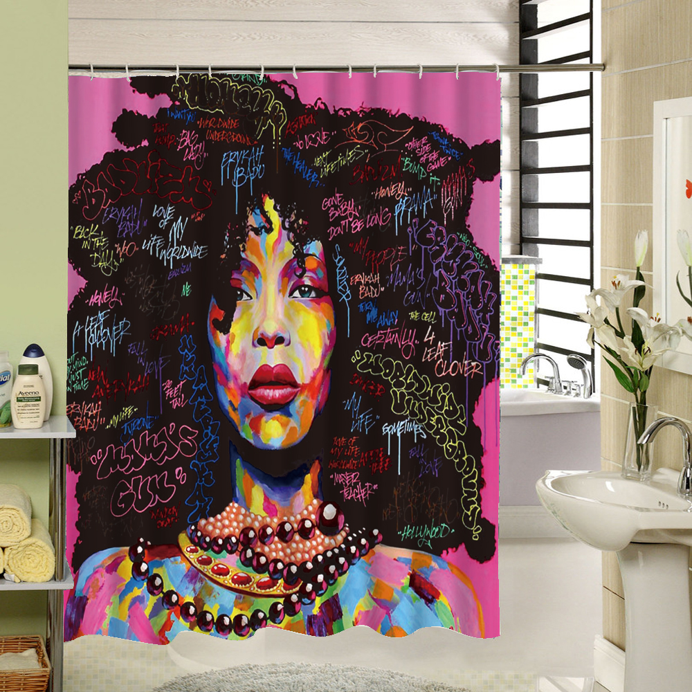 African Woman Shower Curtain Polyester Fabric Painting Bathroom Waterproof Home Product