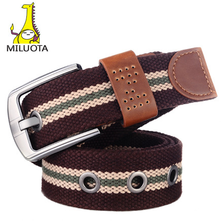[MILUOTA] Canvas pin buckle   belt   unisex military   belt   Army tactical fashion   belt   mens top quality men strap BT003
