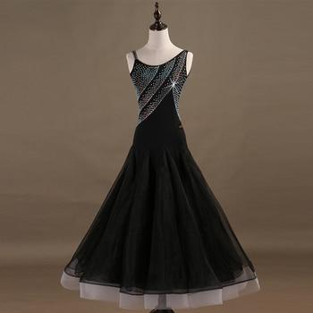 a75aad84b6 Moderno de la competencia de baile Vestidos Mujer vals estándar salón de baile  vestido niñas vestido negro de baile vestido de baile para las mujeres