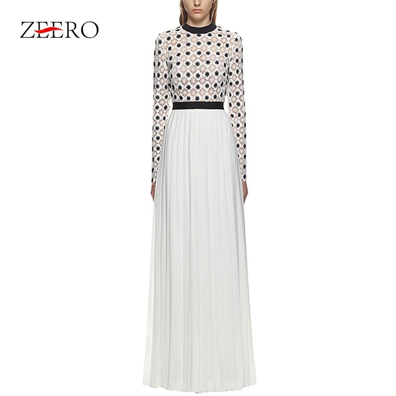 High Quality Self Portrait Women Dress 2019 Long Sleeve Dress Dot Print White Black Patchwork Lace