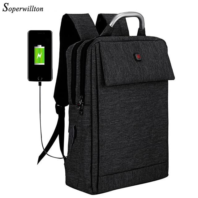 Soperwillton 2018 бренд рюкзак для ноутбука USB зарядка Для мужчин рюкзак верхняя ручка работа сумка 15.6 дюймов ноутбук рюкзак черный мешок Для мужчин
