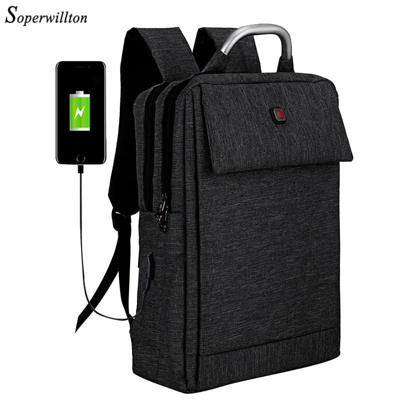 Soperwillton 2019 Brand Laptop Backpack Usb Charge Port Men Backpack Top Handle Work Bag 15.6 Inch Rucksack Men Black Bag Men