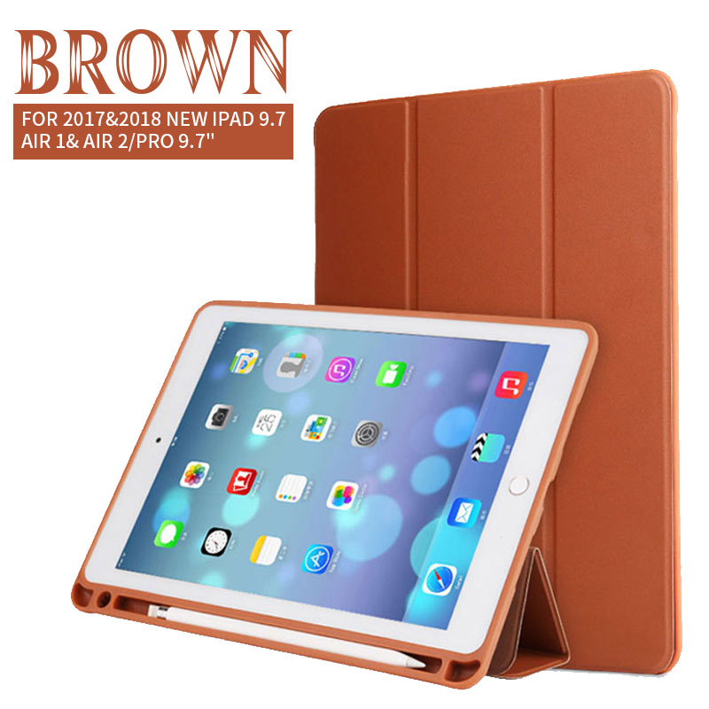 Brown Tablet & E-Books Silicone Case with Pencil Slot and 3-Stand For Ipad Pro 10.5 Pro, 2018 Air 1/2