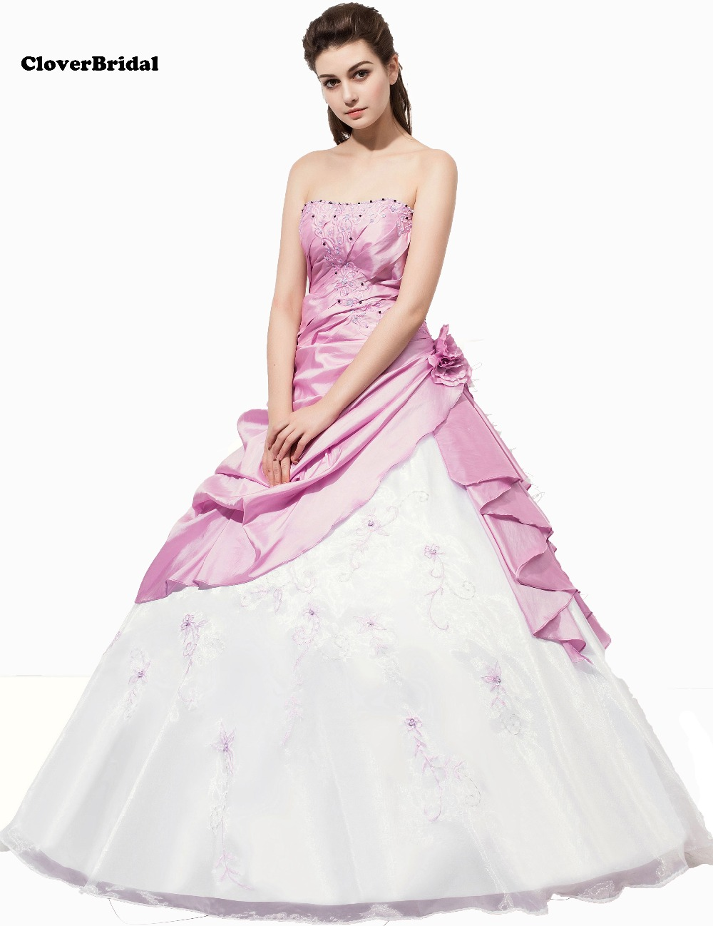 In Stock New Taffeta And Tulle Handmade Flowers And Embroidery Blushing Pink White Quinceanera Dresses Size