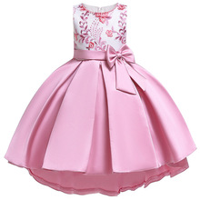 Kids Dresses for Girl Satin Embroidery Toddler Elegant Party Gown for Wedding Kids Girl